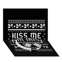 Kiss Me I m Irish Ugly Christmas Black Background Circle Bottom 3d Greeting Card (7x5) by Onesevenart
