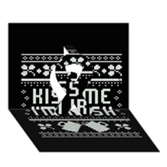 Kiss Me I m Irish Ugly Christmas Black Background Ribbon 3d Greeting Card (7x5) by Onesevenart