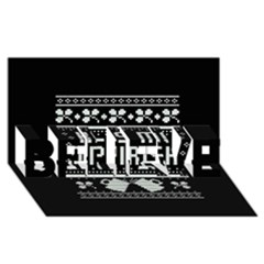 Kiss Me I m Irish Ugly Christmas Black Background Believe 3d Greeting Card (8x4) by Onesevenart