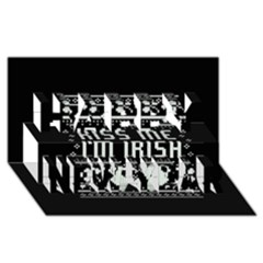 Kiss Me I m Irish Ugly Christmas Black Background Happy New Year 3d Greeting Card (8x4) by Onesevenart