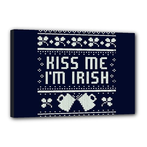 Kiss Me I m Irish Ugly Christmas Blue Background Canvas 18  X 12  by Onesevenart
