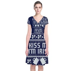 Kiss Me I m Irish Ugly Christmas Blue Background Short Sleeve Front Wrap Dress by Onesevenart