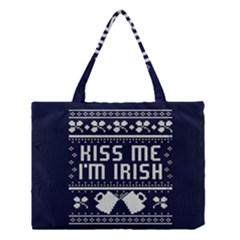 Kiss Me I m Irish Ugly Christmas Blue Background Medium Tote Bag by Onesevenart