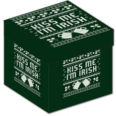 Kiss Me I m Irish Ugly Christmas Green Background Storage Stool 12   by Onesevenart