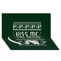 Kiss Me I m Irish Ugly Christmas Green Background Twin Heart Bottom 3d Greeting Card (8x4) by Onesevenart