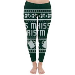 Kiss Me I m Irish Ugly Christmas Green Background Classic Winter Leggings by Onesevenart