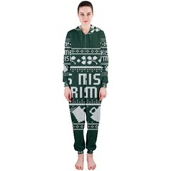 Kiss Me I m Irish Ugly Christmas Green Background Hooded Jumpsuit (ladies)  by Onesevenart
