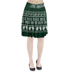 Kiss Me I m Irish Ugly Christmas Green Background Pleated Skirt by Onesevenart