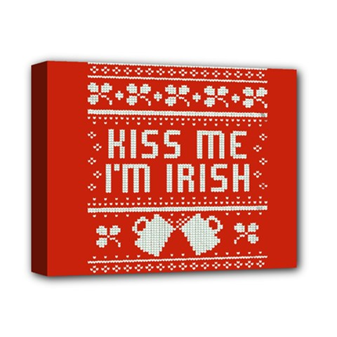 Kiss Me I m Irish Ugly Christmas Red Background Deluxe Canvas 14  X 11  by Onesevenart