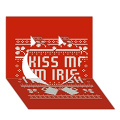 Kiss Me I m Irish Ugly Christmas Red Background Heart 3d Greeting Card (7x5) by Onesevenart