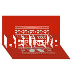 Kiss Me I m Irish Ugly Christmas Red Background Believe 3d Greeting Card (8x4) by Onesevenart