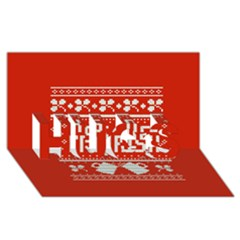 Kiss Me I m Irish Ugly Christmas Red Background Hugs 3d Greeting Card (8x4) by Onesevenart