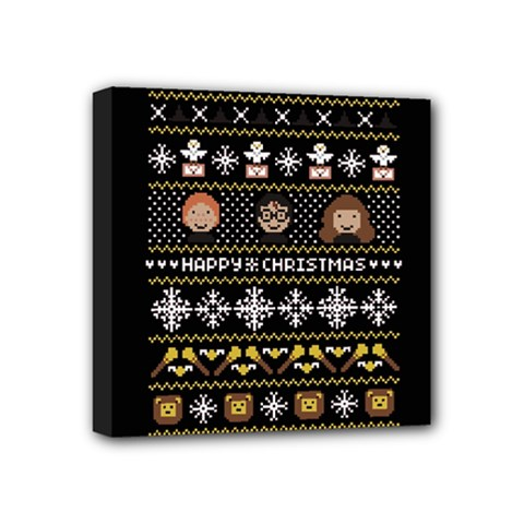 Merry Nerdmas! Ugly Christma Black Background Mini Canvas 4  X 4  by Onesevenart
