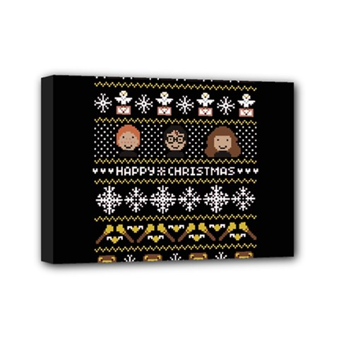 Merry Nerdmas! Ugly Christma Black Background Mini Canvas 7  X 5  by Onesevenart