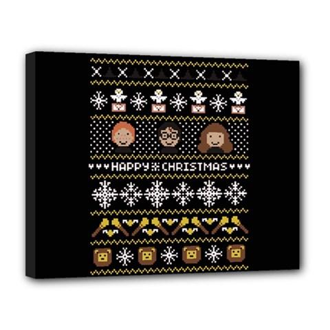 Merry Nerdmas! Ugly Christma Black Background Canvas 14  X 11  by Onesevenart