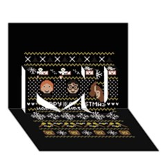 Merry Nerdmas! Ugly Christma Black Background I Love You 3d Greeting Card (7x5) by Onesevenart