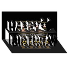 Merry Nerdmas! Ugly Christma Black Background Happy Birthday 3d Greeting Card (8x4) by Onesevenart