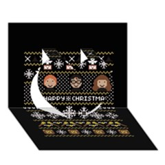 Merry Nerdmas! Ugly Christma Black Background Heart 3d Greeting Card (7x5) by Onesevenart