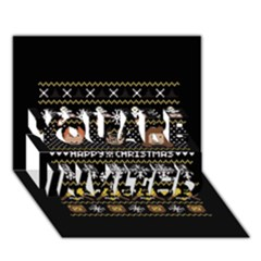 Merry Nerdmas! Ugly Christma Black Background You Are Invited 3d Greeting Card (7x5) by Onesevenart