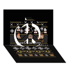 Merry Nerdmas! Ugly Christma Black Background Peace Sign 3d Greeting Card (7x5) by Onesevenart