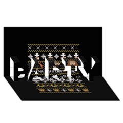 Merry Nerdmas! Ugly Christma Black Background Party 3d Greeting Card (8x4) by Onesevenart
