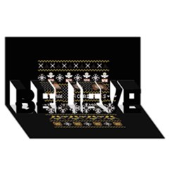 Merry Nerdmas! Ugly Christma Black Background Believe 3d Greeting Card (8x4) by Onesevenart