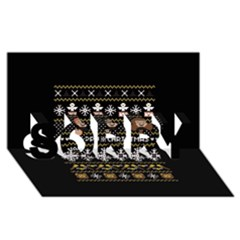 Merry Nerdmas! Ugly Christma Black Background Sorry 3d Greeting Card (8x4) by Onesevenart