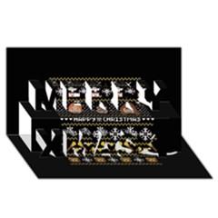Merry Nerdmas! Ugly Christma Black Background Merry Xmas 3d Greeting Card (8x4) by Onesevenart