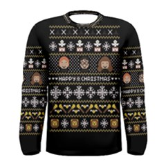 Merry Nerdmas! Ugly Christma Black Background Men s Long Sleeve Tee by Onesevenart
