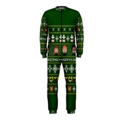 Merry Nerdmas! Ugly Christma Green Background Onepiece Jumpsuit (kids) by Onesevenart