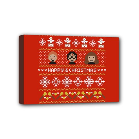 Merry Nerdmas! Ugly Christma Red Background Mini Canvas 6  X 4  by Onesevenart