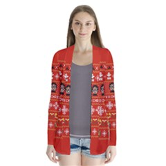Merry Nerdmas! Ugly Christma Red Background Drape Collar Cardigan by Onesevenart