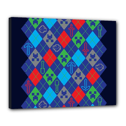 Minecraft Ugly Holiday Christmas Blue Background Canvas 20  X 16  by Onesevenart