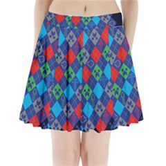 Minecraft Ugly Holiday Christmas Blue Background Pleated Mini Skirt by Onesevenart