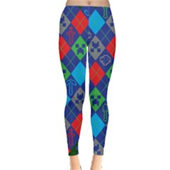 Minecraft Ugly Holiday Christmas Green Background Leggings  by Onesevenart