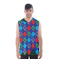 Minecraft Ugly Holiday Christmas Green Background Men s Basketball Tank Top by Onesevenart