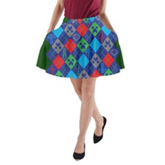 Minecraft Ugly Holiday Christmas Green Background A Line Pocket Skirt by Onesevenart