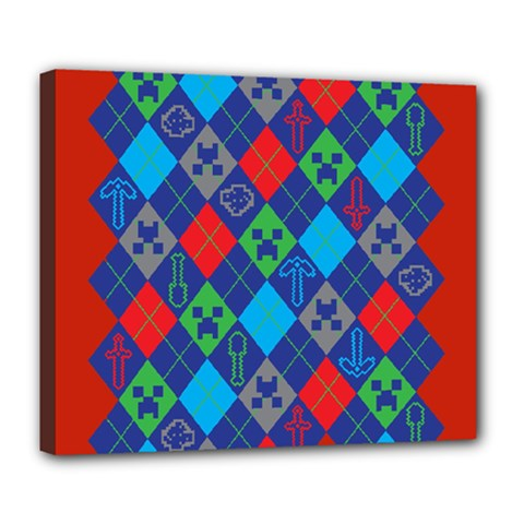 Minecraft Ugly Holiday Christmas Red Background Deluxe Canvas 24  X 20   by Onesevenart