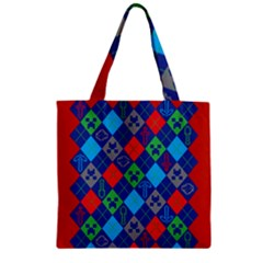 Minecraft Ugly Holiday Christmas Red Background Zipper Grocery Tote Bag by Onesevenart