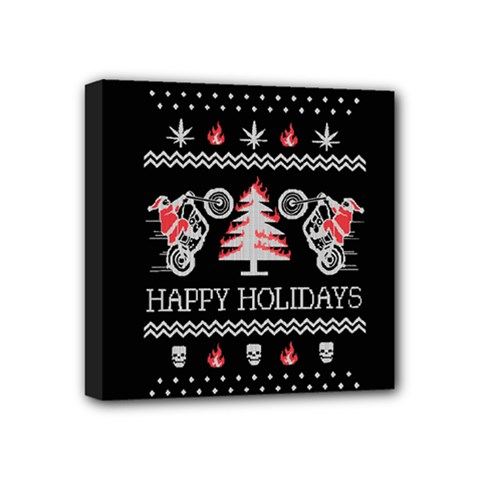 Motorcycle Santa Happy Holidays Ugly Christmas Black Background Mini Canvas 4  X 4  by Onesevenart
