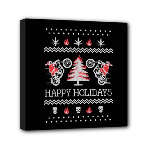 Motorcycle Santa Happy Holidays Ugly Christmas Black Background Mini Canvas 6  X 6  by Onesevenart