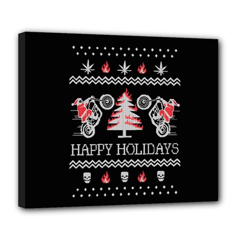 Motorcycle Santa Happy Holidays Ugly Christmas Black Background Deluxe Canvas 24  X 20   by Onesevenart