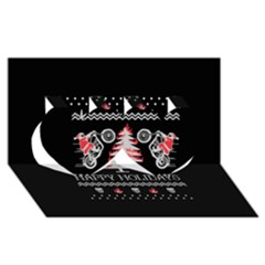Motorcycle Santa Happy Holidays Ugly Christmas Black Background Twin Hearts 3d Greeting Card (8x4) by Onesevenart
