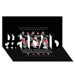 Motorcycle Santa Happy Holidays Ugly Christmas Black Background #1 Dad 3d Greeting Card (8x4) by Onesevenart