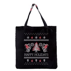 Motorcycle Santa Happy Holidays Ugly Christmas Black Background Grocery Tote Bag by Onesevenart