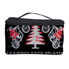 Motorcycle Santa Happy Holidays Ugly Christmas Black Background Cosmetic Storage Case by Onesevenart