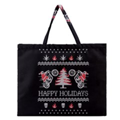 Motorcycle Santa Happy Holidays Ugly Christmas Black Background Zipper Large Tote Bag by Onesevenart