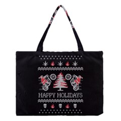 Motorcycle Santa Happy Holidays Ugly Christmas Black Background Medium Tote Bag by Onesevenart