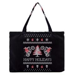 Motorcycle Santa Happy Holidays Ugly Christmas Black Background Medium Zipper Tote Bag by Onesevenart