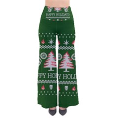 Motorcycle Santa Happy Holidays Ugly Christmas Green Background Pants by Onesevenart